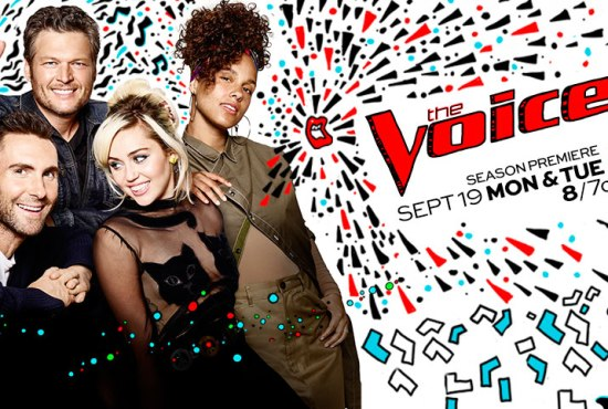 """Adam and Blake continued to welcome Miley Cyrus and Alicia Keys to """"The Voice"""" family. (Poster and graphic property of NBC & MGM TV)"""