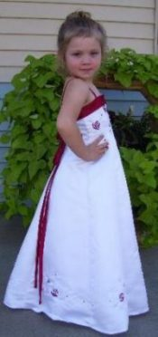 white and red junior bridesmaid dresses