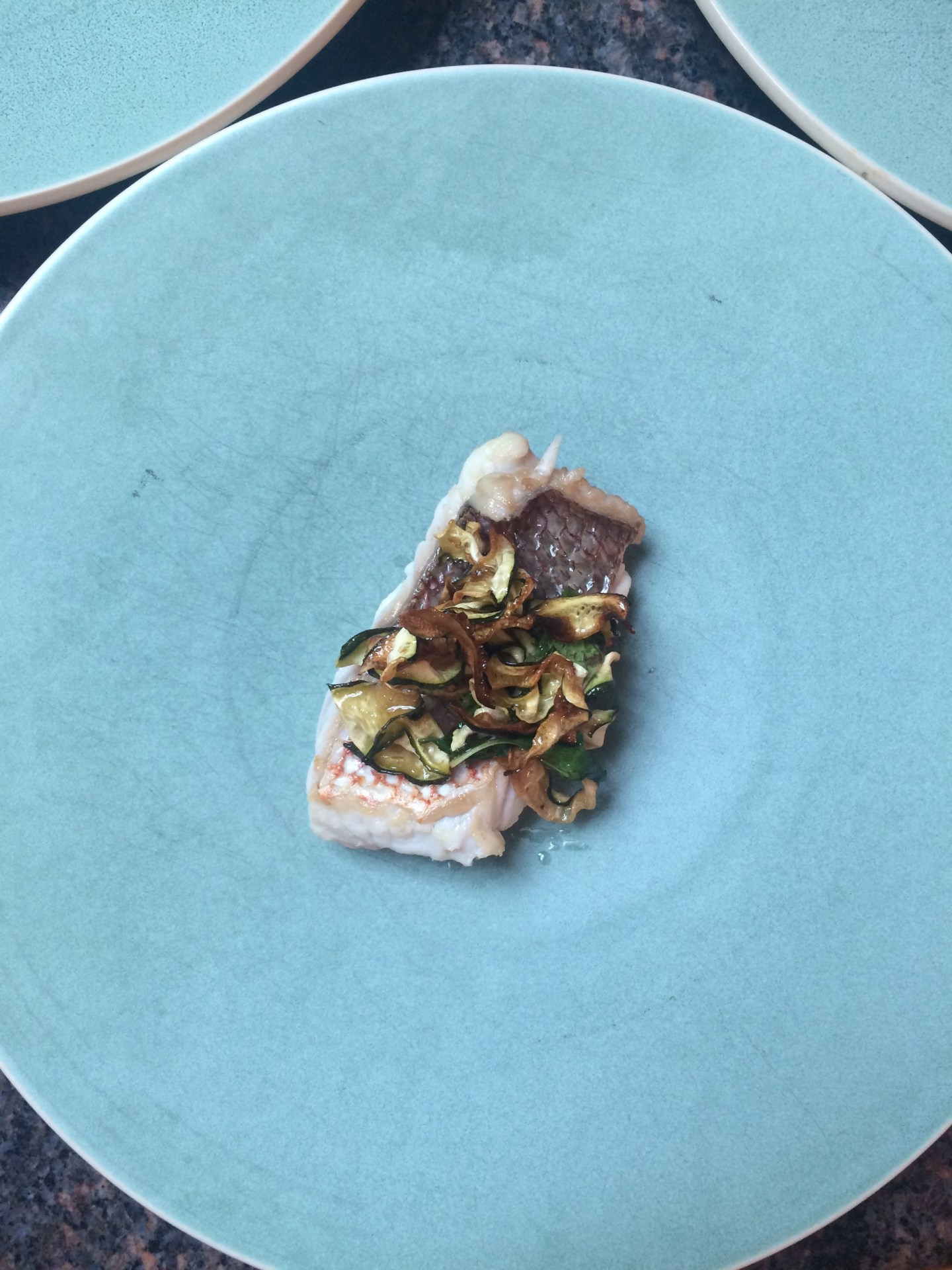 Snapper, zucchini agrodolce