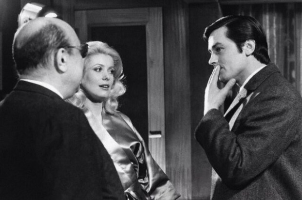 Alain Delon with Catherine Deneuve and Jean-Pierre Melville, on the set of Un Flic.