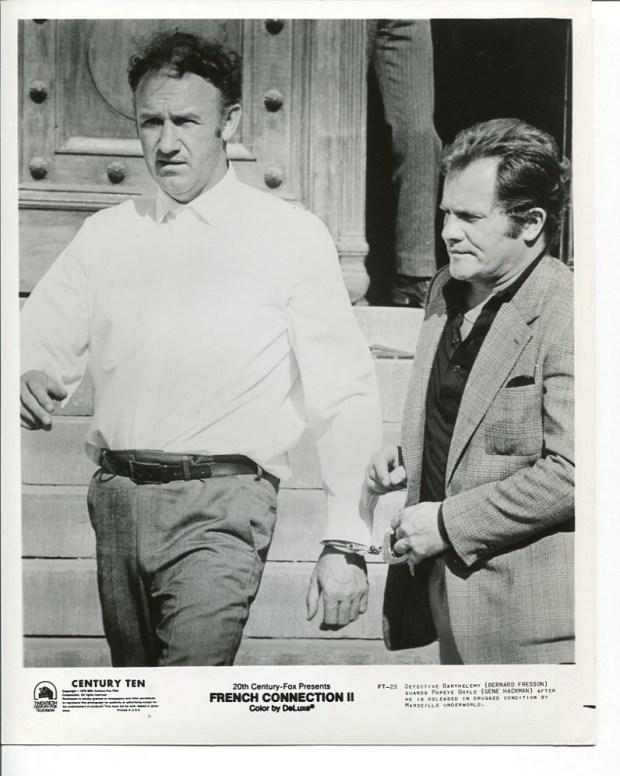 Bernard Fresson and Gene Hackman. French Connection II (John Frankenheimer, 1975).  Suggested by @HobanPat.