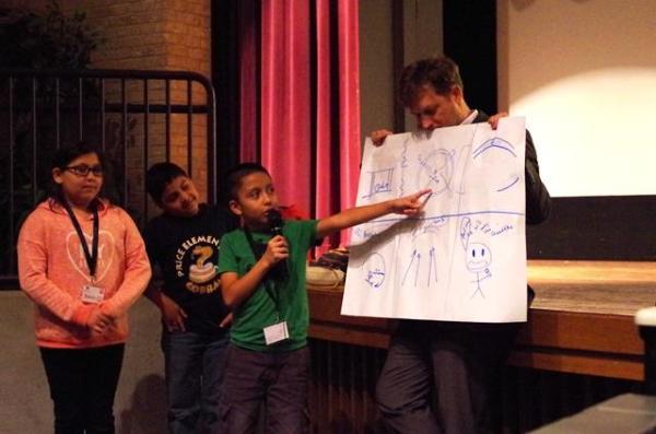 3 kids discuss storyboards bexar