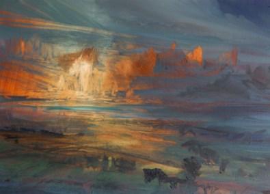 Green River Evening, Oil, 37x25cm