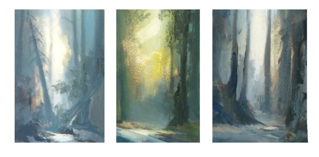 """Fallen Fir"", ""Morning Light"" and ""Dark Path"", Oil, 9x7cm"