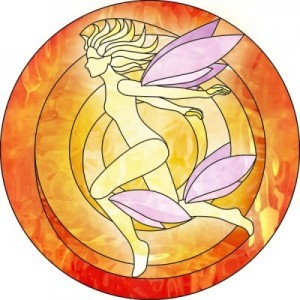 An example of Annah Wootten's incredible stained glass artwork for The Fey Man.