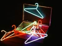 "Packing Light, 24"" x 24"" x 20"", neon and argon glass tubes, electronics, found object"