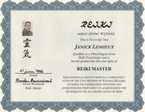 Janick Reiki master cert
