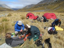 NOLS students practice first aid near the Ashburton River, NZ