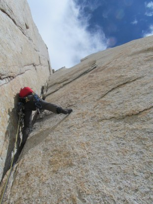 Jake Perkinson climbing stellar stone on Fitz Roy's North Pillar