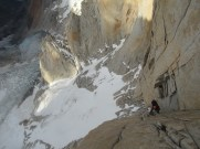 Ascending the line on Fitz Roy's North Pillar
