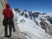 Bailing in the face of splitter weather from Fitz Roy's North Pillar