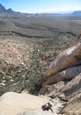 Rahul climbing pitch 2 of Purblind Pillar, Red Rock Canyon, NV