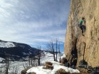 Anna Haegel and Scott Robertson climbing in Sinks Canyon, WY