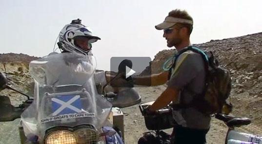 Adventure television - explorer Jason Lewis meets actors Ewan Mcgregor and Charlie Boorman in Sudan during their Long Way Down series