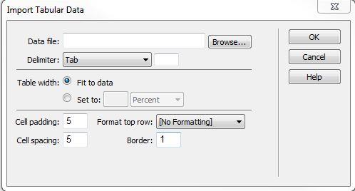 Dreamweaver Data Import Tabular form window