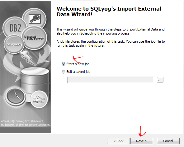 SQLYog Import external data step 1