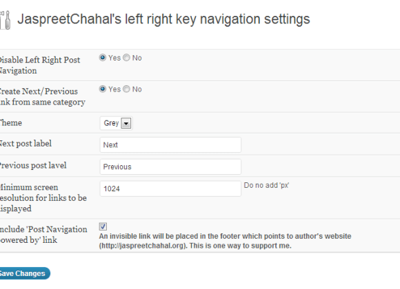 jcwp left right key navigation options page