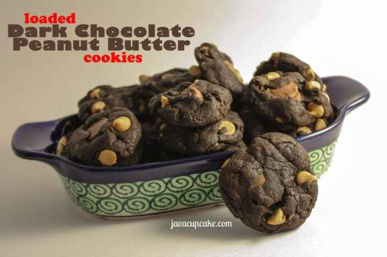 Loaded Dark Chocolate Peanut Butter Cookies by JavaCupcake.com