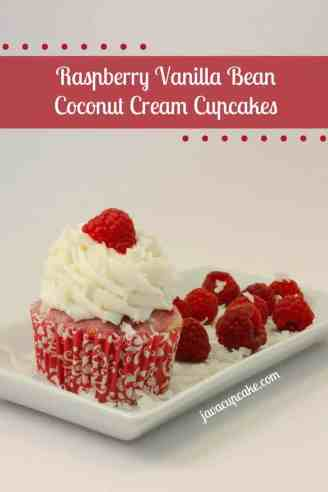 Raspberry Vanilla Bean Coconut Cream Cupcakes by JavaCupcake.com