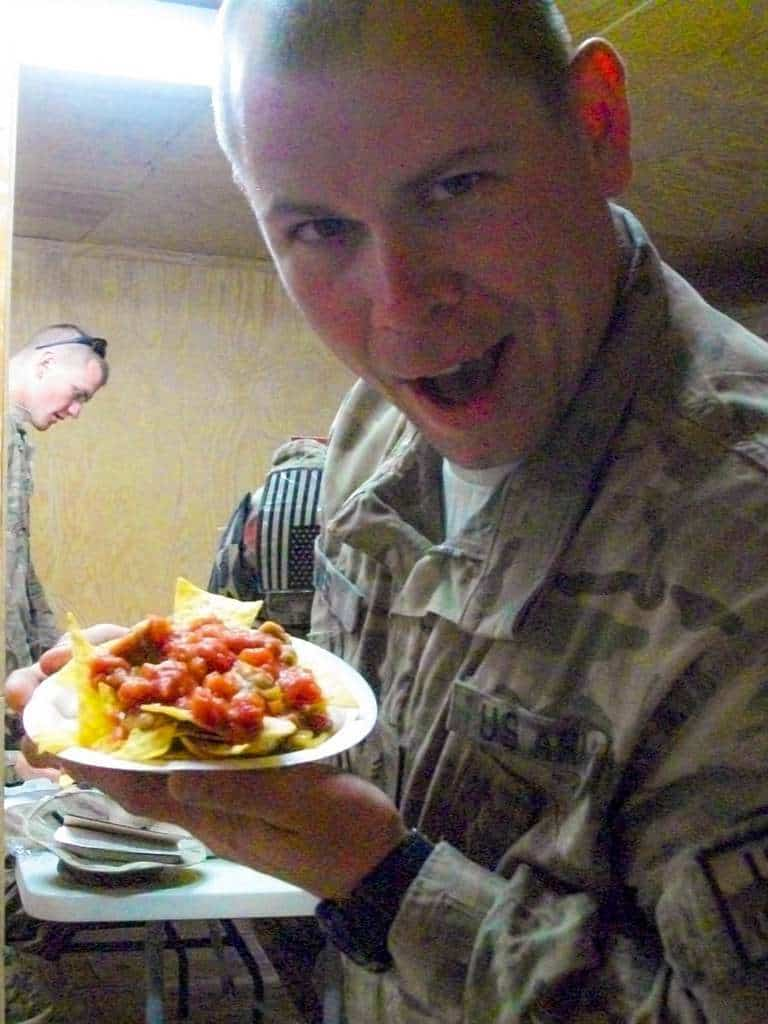 SGT Eves is really happy to have some salsa for his nachos!