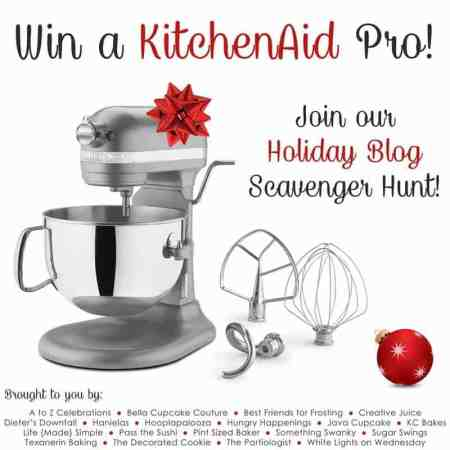 Holiday Blog Scavenger Hunt - WIN a KitchenAid Pro Stand Mixer from JavaCupcake.com!