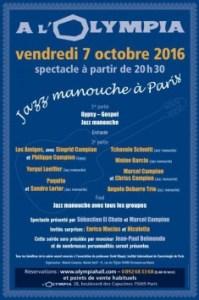 Affiche du concert jazz manouche à l'Olympia du 7 octobre 2016