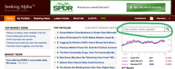 Seeking Alpha website Seeking Alpha news stories