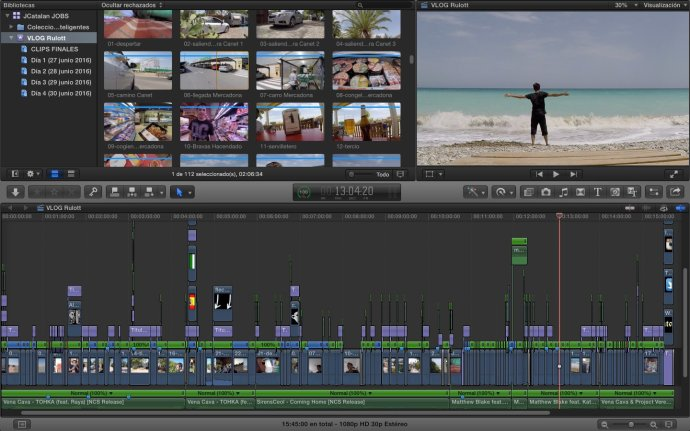 Como siempre en estas entradas, aquí os dejo la captura del vídeo dentro de FCPX, ahí está el vídeo completo de más de un cuarto de hora. (Click para ampliar)