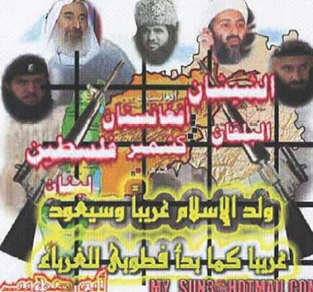"Hamas sees itself as part of the global jihadist movement. This Hamas poster, entitled ""Chechnya, Afghanistan, Balkan, Kashmir, Palestine, Lebanon,"" was found in 2004 on a propaganda CD that Hamas distributed in the West Bank. The poster features Hamas co-founder Ahmed Yassin (upper left) along with Chechen terrorist leaders and Osama Bin Laden. (Meir Amit Terrorism and Intelligence Information Center)"