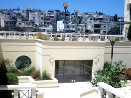 The balcony of the Jacir Palace Hotel overlooking the Deheishe Refugee Camp near Bethlehem