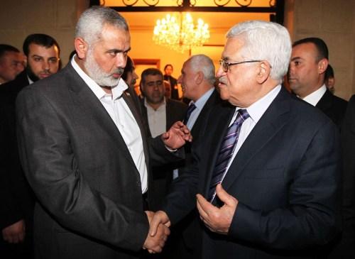 Hamas leader Ismail Haniya and PA President Mahmoud Abbas