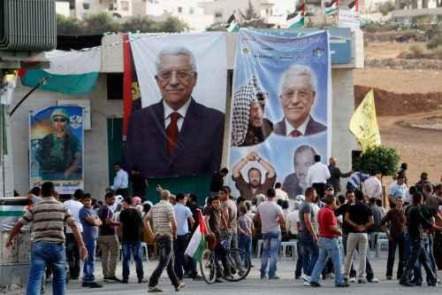 Mahmoud Abbas posters during the 2012 local elections. Featured alongside of him are photos of Yasir Arafat, Marwan Barghouti, and Abu Jihad.