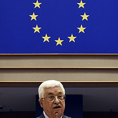 President of the Palestinian National Authority Mahmud Abbas delivers a speech at the European Union Parliament in Brussels on June 23, 2016. / AFP PHOTO / JOHN THYS