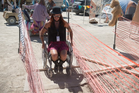 Running the wheelchair obstacle course