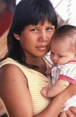 Displaced Young Indigenous Girl and Baby