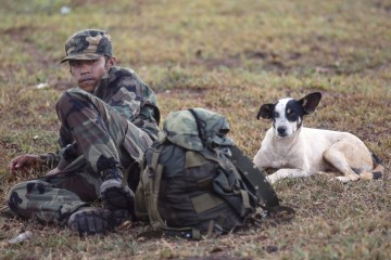Contra Boy Soldier with His Dog
