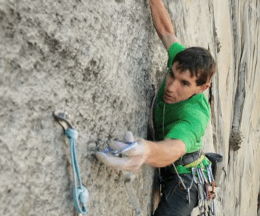 Right before Alex Honnold momentarily loses his grip and seems to slip.