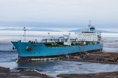 The Maersk Peary tanker ship, which supplies McMurdo with fuel for the winter season.