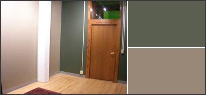 Art studio wall colors—Putty and Sierra Night from Pratt and Lambert