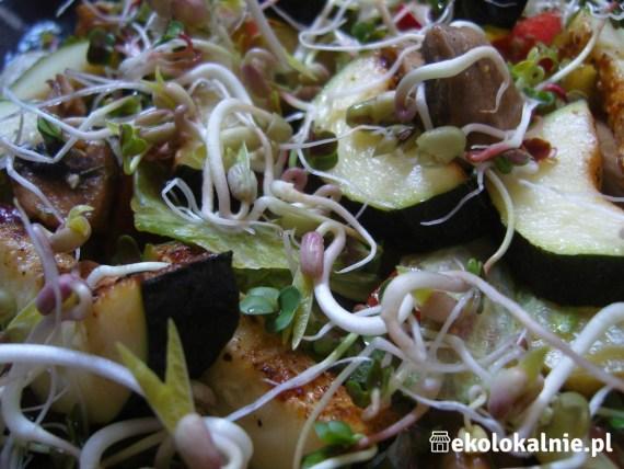 Sałatka z grillowaną cukinią i pieczarkami