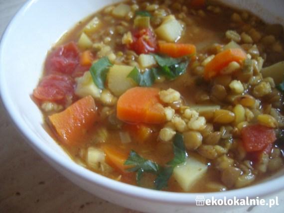 Zupa z zieloną soczewica i pęczakiem