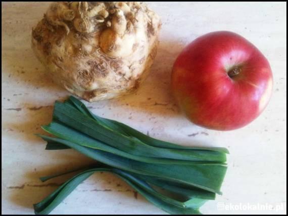 Surówka z selera, jabłka i pora