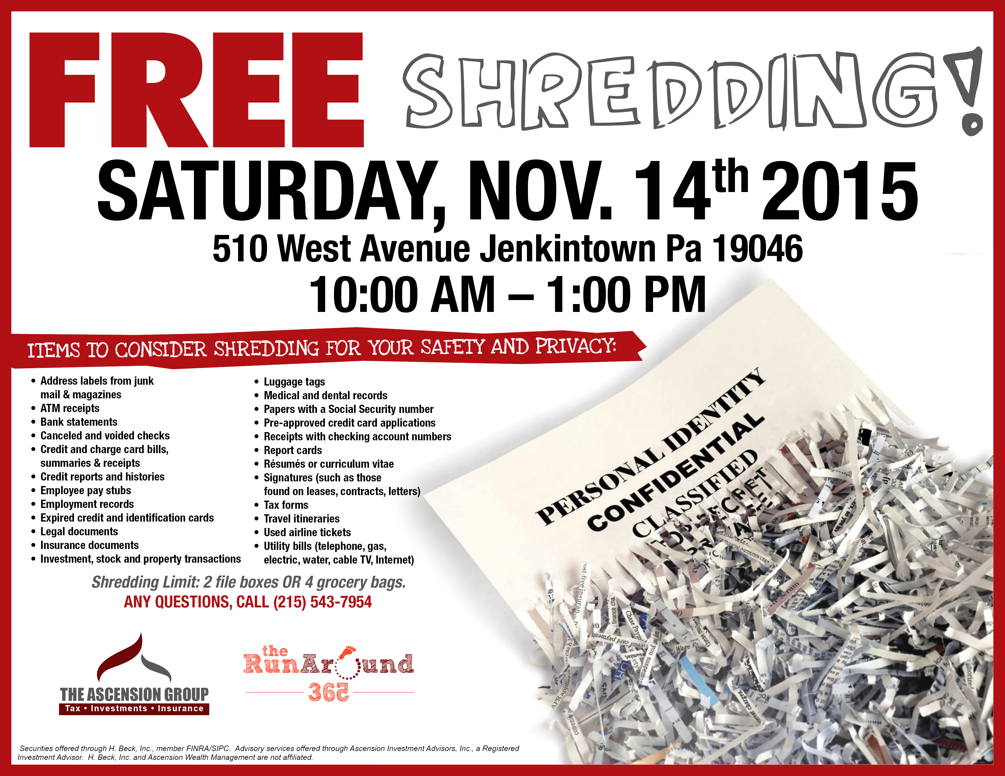community event paper Protect your personal information and eliminate clutter at our new community drop-off facility open to residents in philadelphia and the surrounding areas.