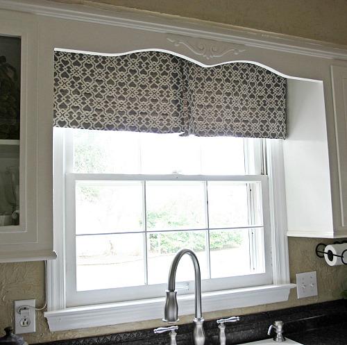 Diy modern kitchen curtain jennifer decorates - Modern kitchen valances ...
