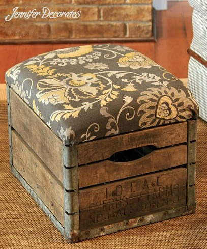How to Make an Ottoman - Vintage Milk Crate Turned into Unique Ottoman!