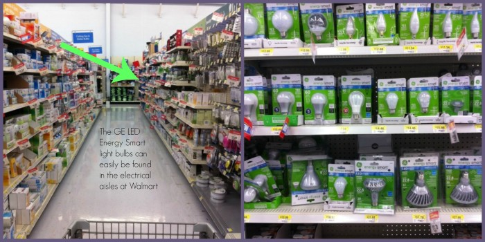 You can find the GE LED Energy Smart light bulbs in the electrial aisles at Walmart #LEDSavings #Shop
