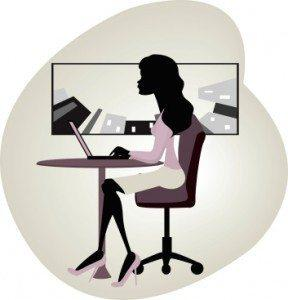 vector image of businesswoman using laptop How To Schedule Posts On Google + With Do Share - Finally It Can Be Done!