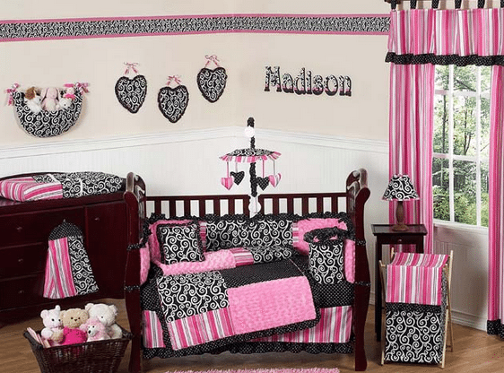 Girl's bedroom design ideas Madison Bedding  Madison Toddler Bedding #Review, Plus Bedroom Design Ideas!