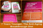 7 Years Younger, The Anti-Aging Breakthrough Diet frong and back of the hardcover book and workbook