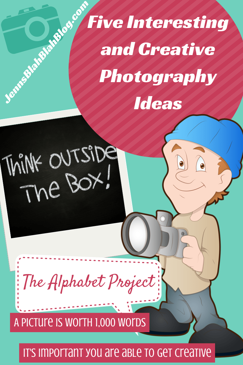Cartoon man holding camera ready to take pictures with wording to the left that says give interested and creative photography ideas Five Interesting and Creative Photography Ideas